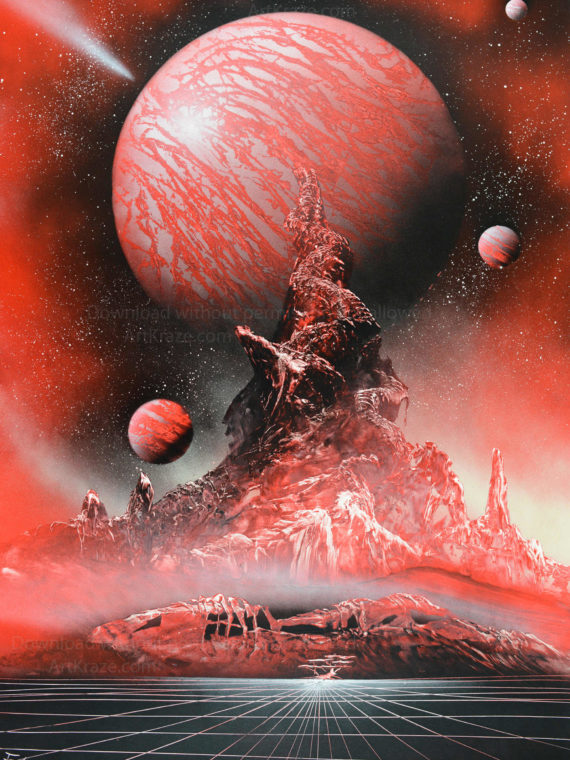 Spray paint art Astral planet