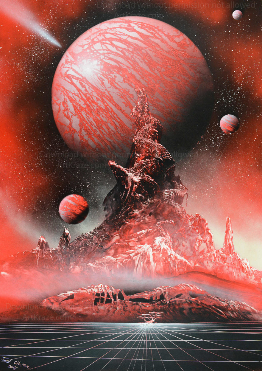 Spray paint space art Astral planet comes with a lot of rich features making it a premium artwork.