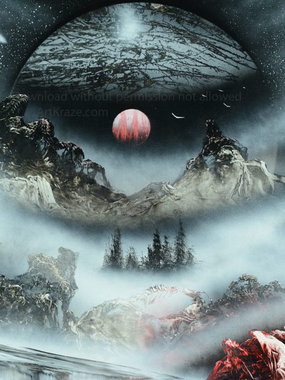 Spray paint art : Alien planet landscapes shows an exo-planet where we can see a misty landscape with mountains and waterfalls (or waterfall like).