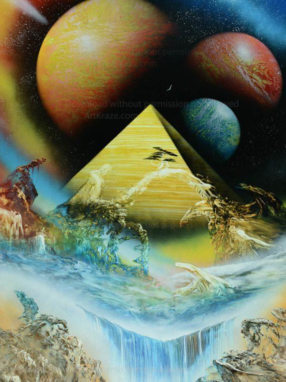 Spray paint art did aliens built the pyramids