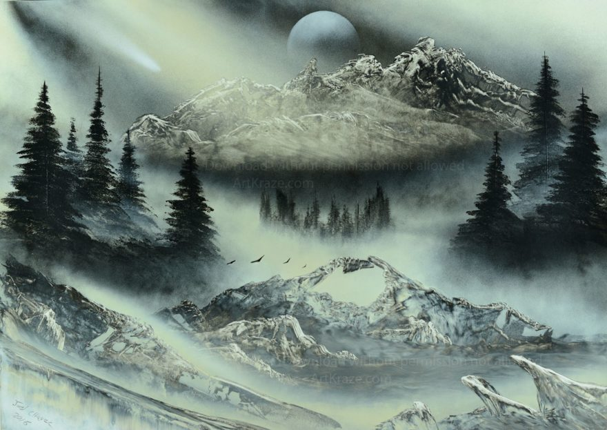 Spray paint art mountains and aurora is a beautiful artwork emanating peace and mountain vibes