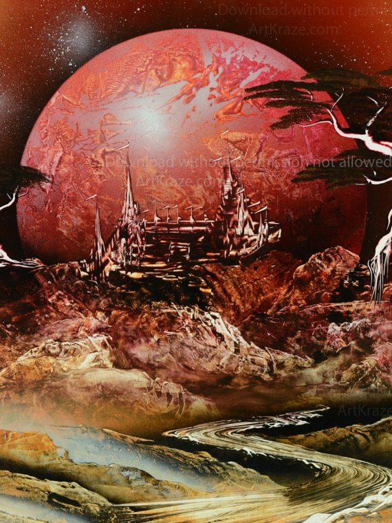 Spray paint art Alien mountain city