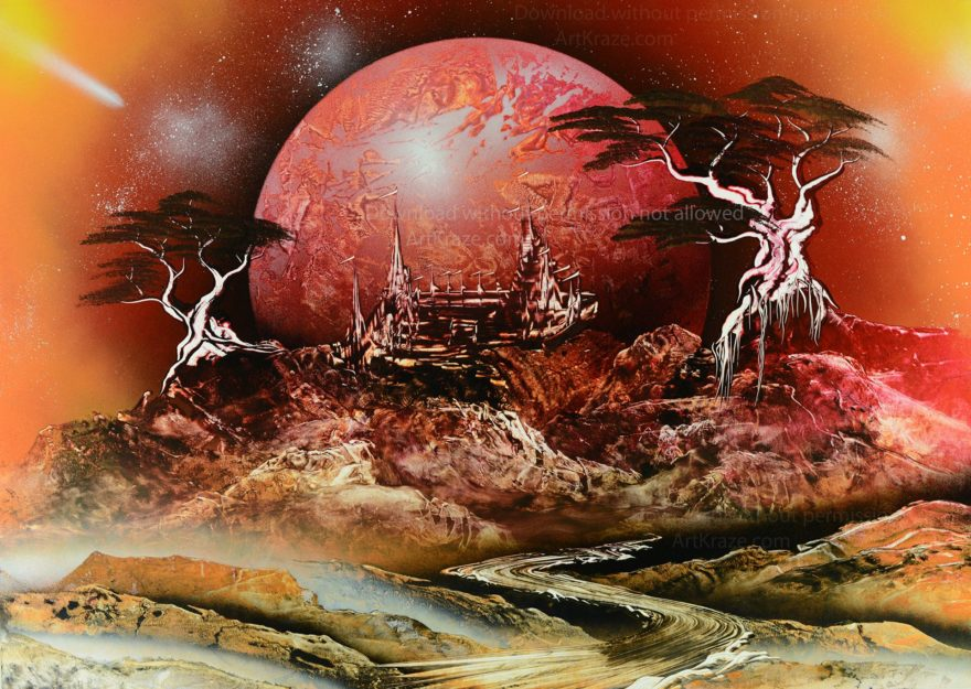 Spray paint art Alien mountain city is a highly detailed spray painting with rich and vibrant colours