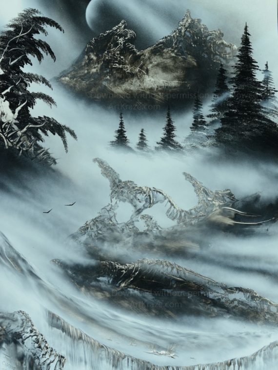 Spray paint art mountains and waterfall