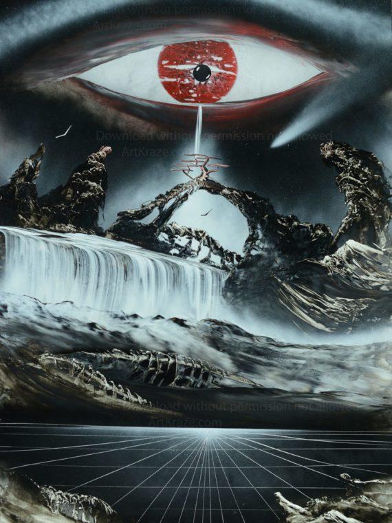 Spray paint art waterfall from-eyes