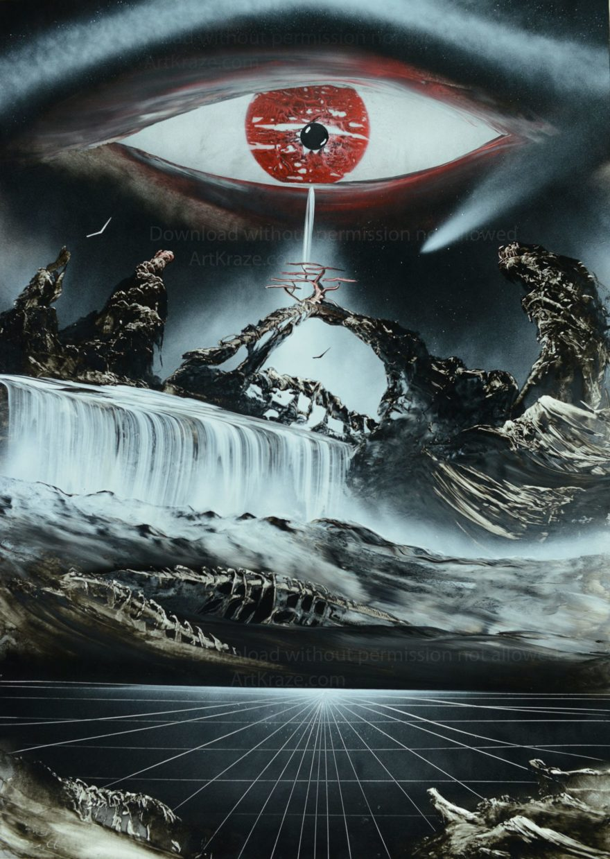 This Spray paint artwork shows a waterfall which is created out of the tears running out from a symbolic eyes.