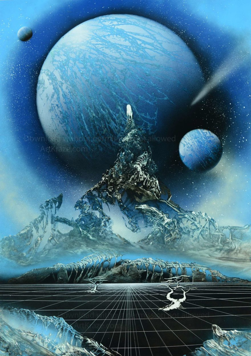 Spray paint space art deep blue space sky is portraying deep blue space sky in an exoplanet making this artwork truly wonderful when seen framed.