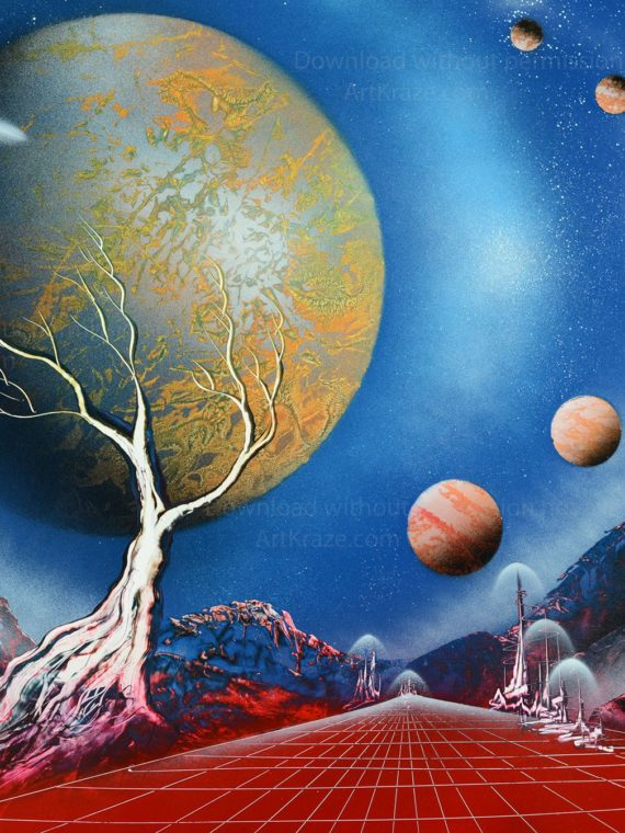 Spray paint space art incredible alien planets