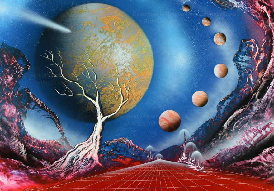 Created using spray paint, this scene takes you to another cosmic world where the night sky holds a stunning display of this alien solar system.