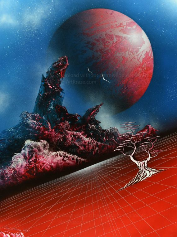 Spray paint space art the red planet