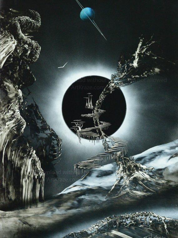 black and white spray paint art next eclipse