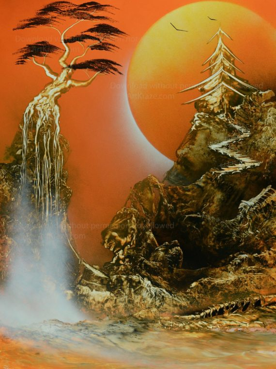 spray paint art sunset falls is one of the best sunset scenes panted using spray paint.