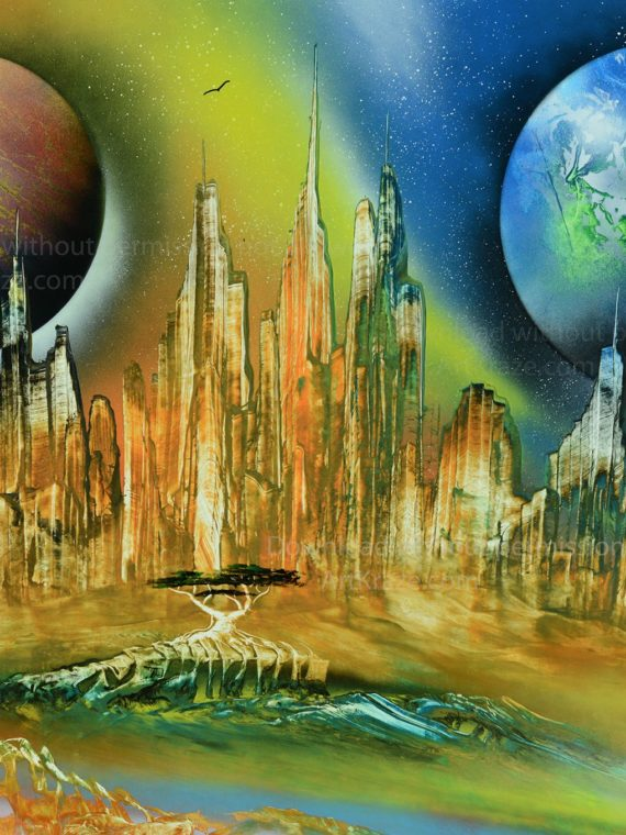 spray paint art Alien city universe is a colourful artwork about a city in some other planet