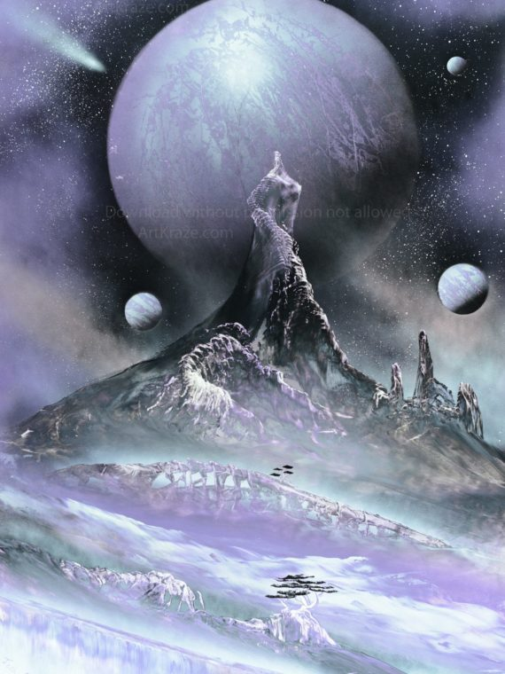 spray paint art astral city landscape